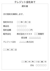 クーリングオフ書面書き方(クレジットカード会社宛)